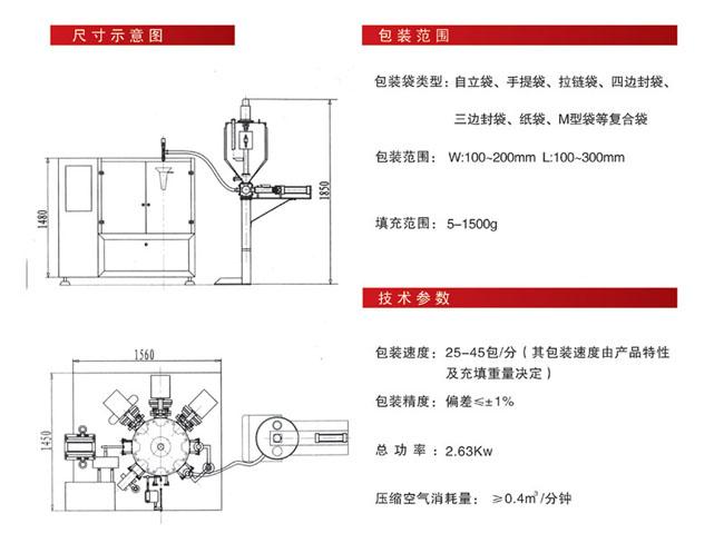 袋装酱类包装机尺寸剖析图